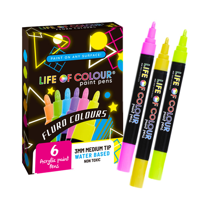 Fluro Colours Paint Pens 3mm Medium Tip