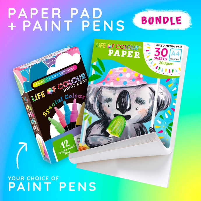 A4 Paper Pad and Paint Pens Bundle
