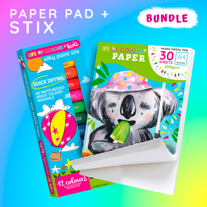 A4 Paper Pad and Silky Paint Stix Bundle