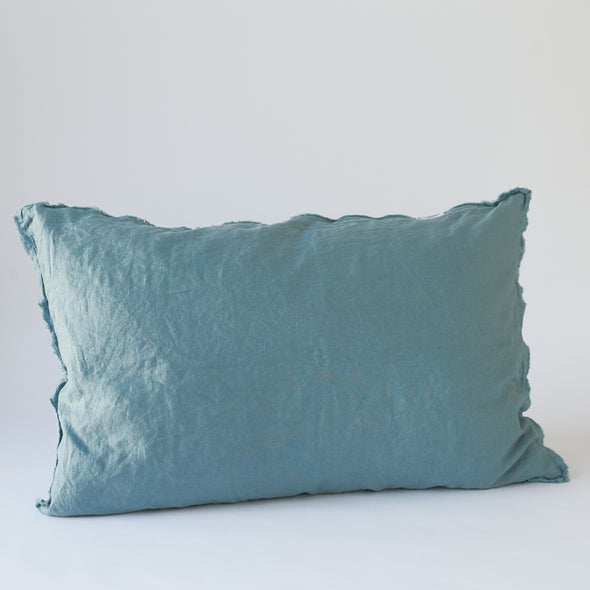 Linen Bedhead Cushion in Dusty Blue