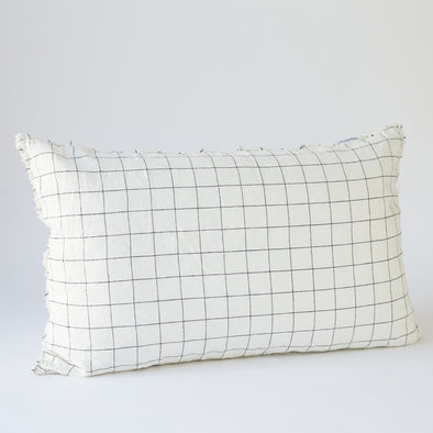 Linen Bedhead Cushion in Black Grid