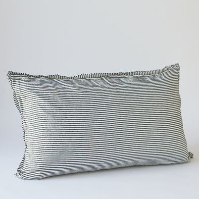 LInen Bedhead in Dark Charcoal Stripe