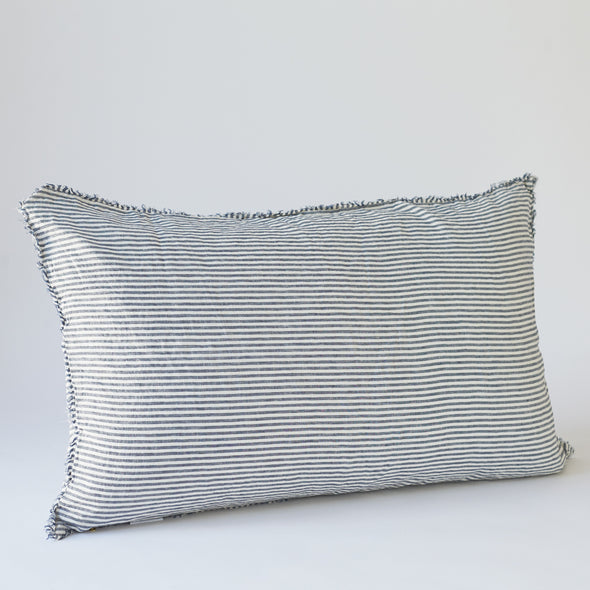 Linen Bedhead Cushion in Marine Stripe