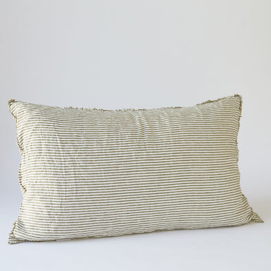 Linen Bedhead Cushion in Olive Stripe