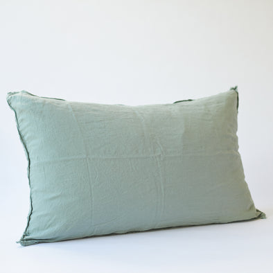 Linen Bedhead Cushion in Sage Green