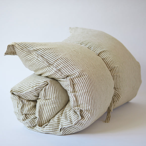 Linen GlamSwag in Olive Stripe
