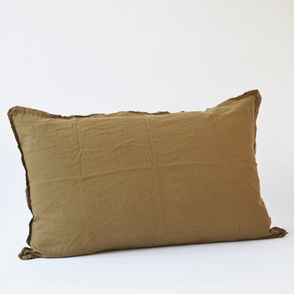 Linen Bedhead Cushion in Olive
