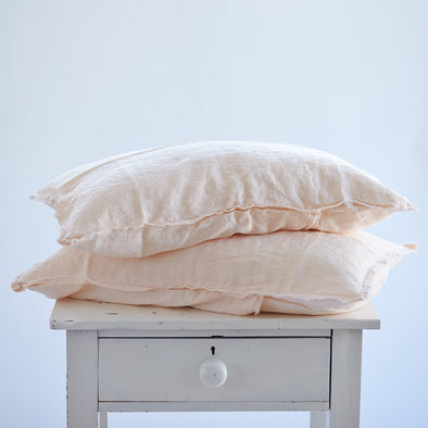 Pair of Linen Pillowcases in Light Peach