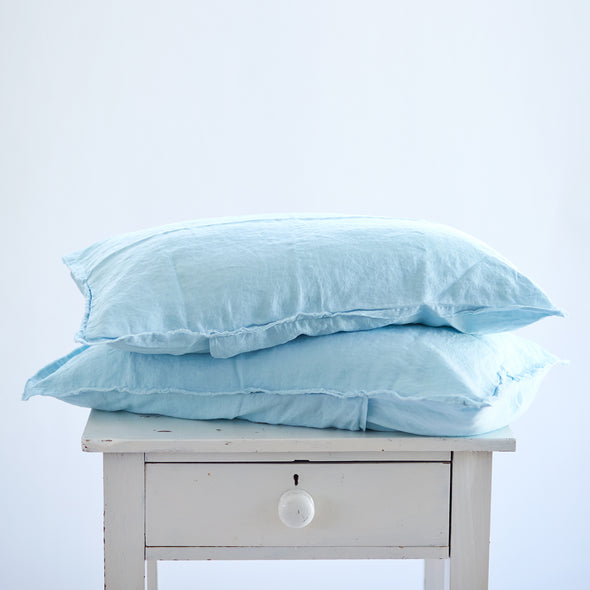 Pair of Linen Pillowcases in Sky Blue