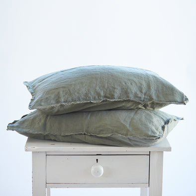 Pair of Linen Pillowcases in Khaki