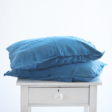 Pair of Linen Pillowcases in Legion Blue