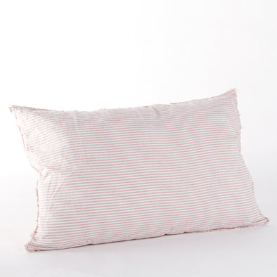 Linen Bedhead Cushion in Rosewater Stripe