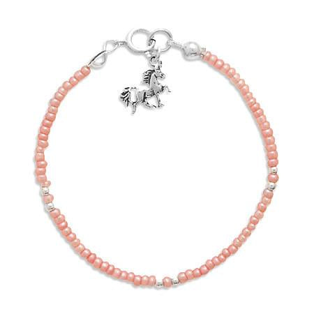 "5"" Pink Seed Bracelet with Unicorn Charm"