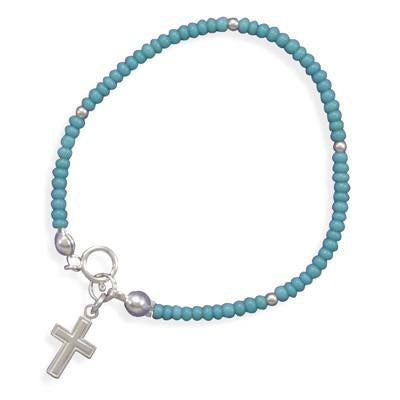 "5.5"" Turquoise Glass Bead Bracelet with Cross Charm"