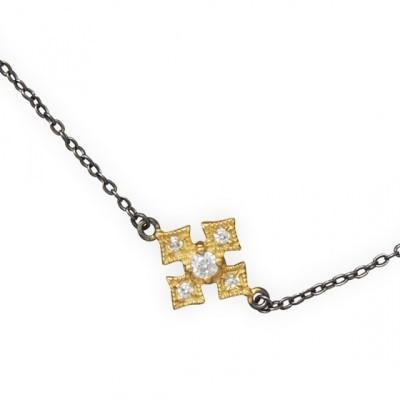 Two Tone CZ Cross Link Necklace