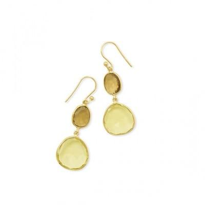14 Karat Gold Plated Double Quartz Drop Earrings
