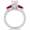 14k White Gold Diamond & Pear Ruby Gemstone Engagement Ring  1.79ct