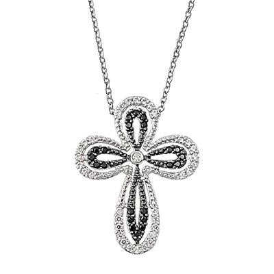 .925 Black and Clear Cubic Zirconia Cross Necklace