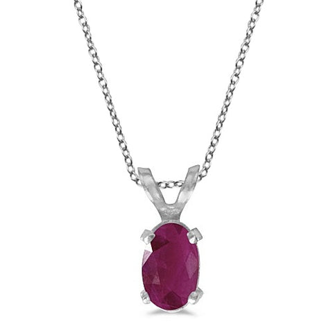 Oval Ruby Solitaire Pendant Necklace in 14K White Gold 0.60ct