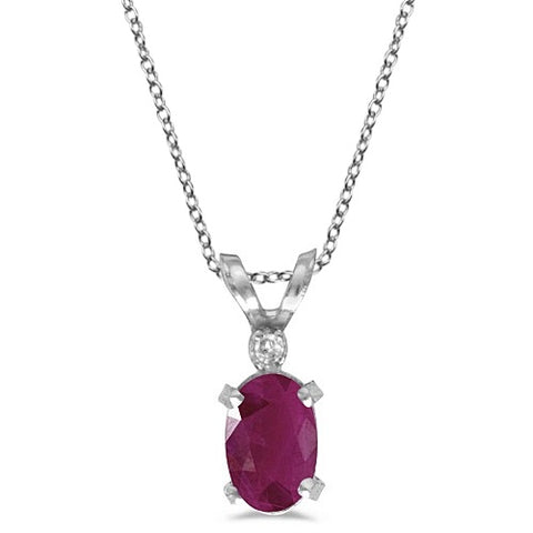 14K White Gold Ruby & Diamond Solitaire Filagree Pendant 0.60ct