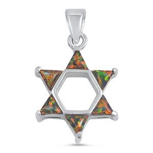 Silver Pendant W/ Lab Opal - Star of David