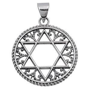 FilIgree Style Star Of David Sterling Silver Pendant