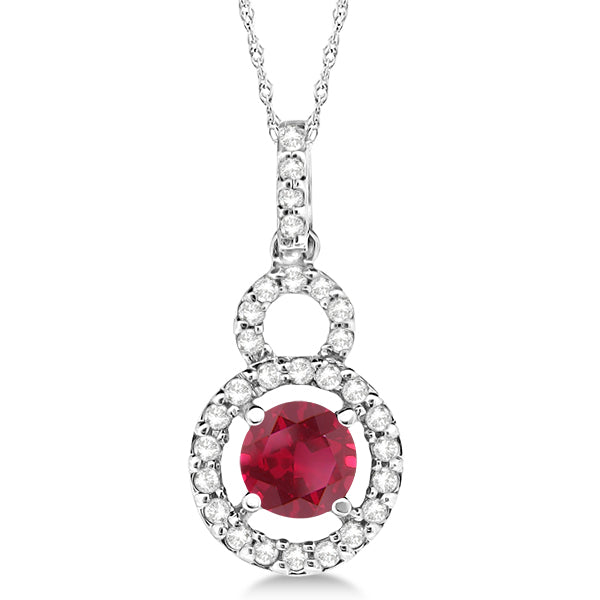 14k White Gold Dangle Drop Diamond and Ruby Pendant  0.63ct