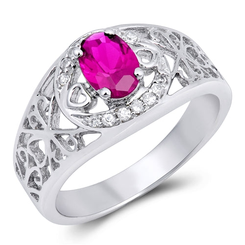 Silver Heart Ruby CZ Ring