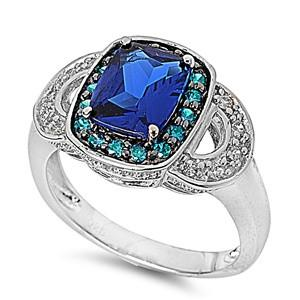 .925 Blue Topaz and Blue Sapphire Cocktail Ring