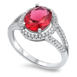 .925 Ruby and White Cubic Zirconia Ring
