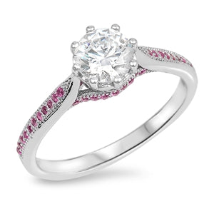 Sterling Silver Engagement Ruby CZ Ring