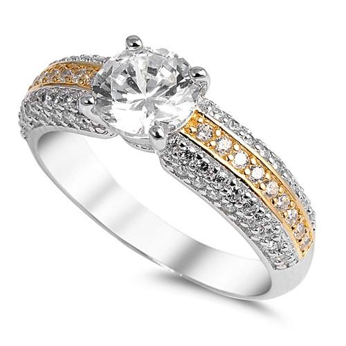 Two-tone White Cubic Zirconia Engagement Ring