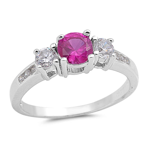 Silver Ruby Engagement CZ Ring