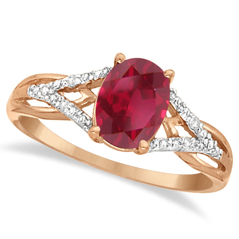 14K Rose Gold Oval Ruby and Diamond Cocktail Ring 1.52 ctw