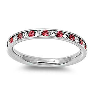 Crystal & Garnet Stainless Steel Eternity Ring W/ Crystal