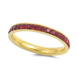 Stackable Eternity Band Garnet Birthstone in Gold-Plated Stainless Steel Ring