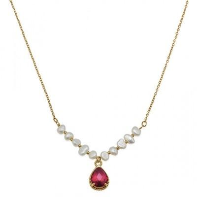 "16"" + 1"" 18K Gold Plated Copper Necklace with Pearls and Red Glass Drop"