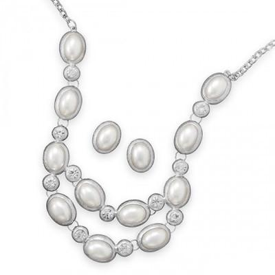 Silver Tone Oval Imitation Pearl Fashion Necklace and Earring Set