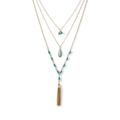 Gold Tone and Magnesite Triple Strand Necklace