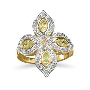 14 Karat Gold Plated Ring with Lime CZs