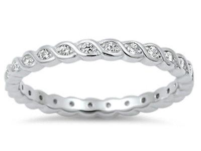 Sterling Silver 925 STACKABLE ETERNITY TWISTED DESIGN CLEAR CZ RING 2MM SIZE4-10