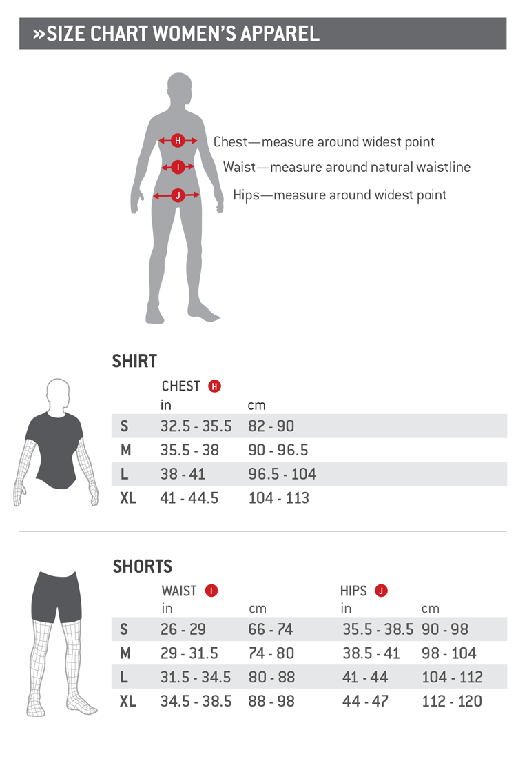 G-Form Womens Apparel Size Chart