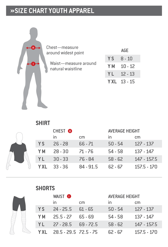 G-Form Youth Apparel Sizing