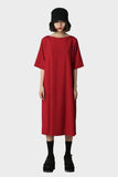 Cardinal Solid Broad Neck Dress