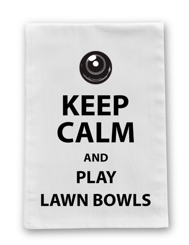 TEA TOWEL - KEEP CALM AND PLAY LAWN BOWLS
