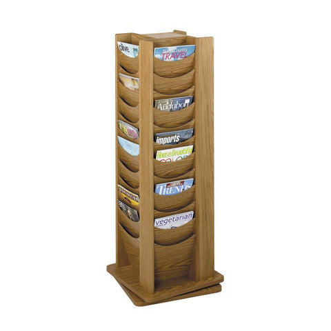 Safco 4335MO 48-Pocket Solid Wood Rotating Display - Safcomart