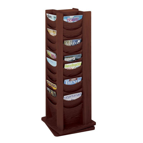 Safco 4335MH 48-Pocket Solid Wood Rotating Display - Safcomart