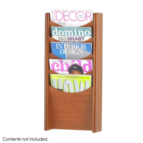 Safco 4330CY 5-Pocket Wood Magazine Rack - Safcomart