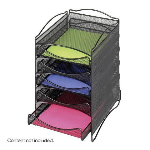Safco 9432BL Onyx™ 5 Drawer Mesh Literature Organizer - Peazz Furniture