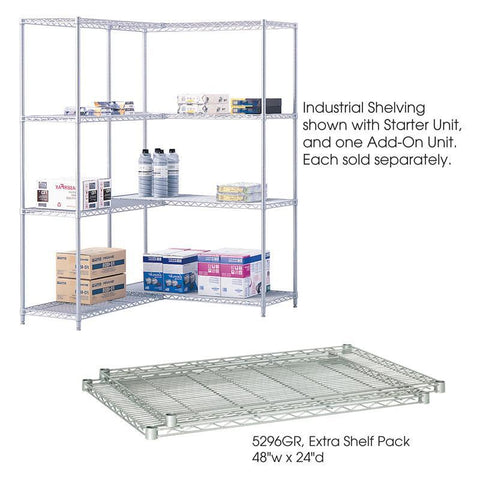 "Safco 5296GR Industrial Extra Shelf Pack, 48 x 24"" - Safcomart"